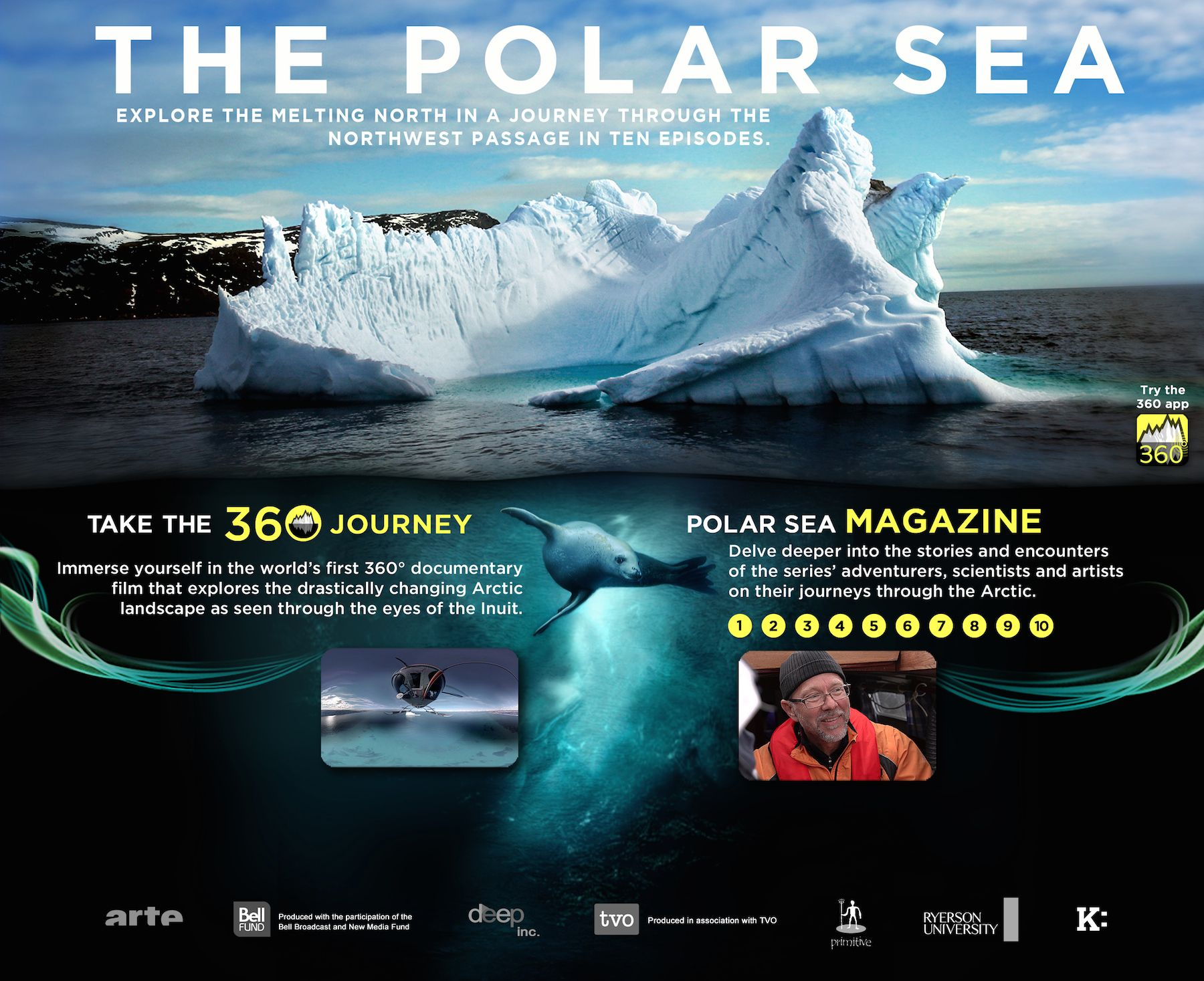 Polar Sea 360   The ice seems to shape like a dolphin, an walrus, a baluga.  Scratches like spears.  The breath of the whale maybe setting up vapour that freezes to make a dish.  Who knows.  Lets get some researchers over there to the Canadian Arctic.  There are many questions to figure before we can really build Arctic cities.