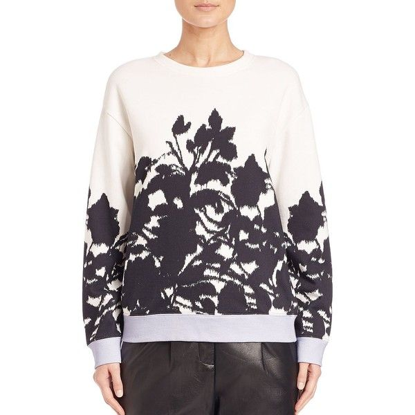 Prabal Gurung Floral-Print Sweatshirt (€570) ❤ liked on Polyvore featuring tops, hoodies, sweatshirts, apparel & accessories, sweater pullover, white long sleeve top, white cotton sweatshirt, long sleeve tops and graphic crew neck sweatshirts