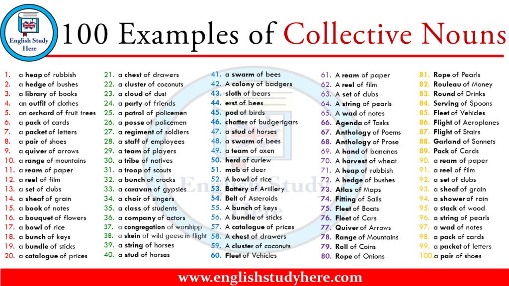 100 Examples Of Collective Nouns Opposite Words English Opposite Words Collective Nouns