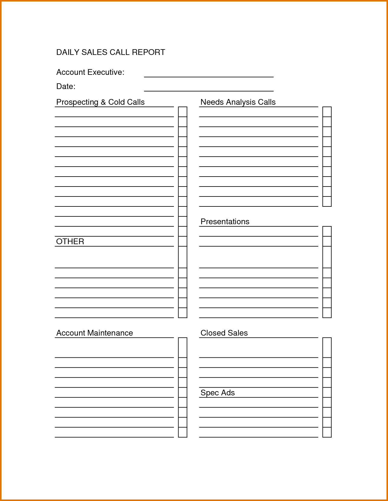 Sales Call Sheet Template Report