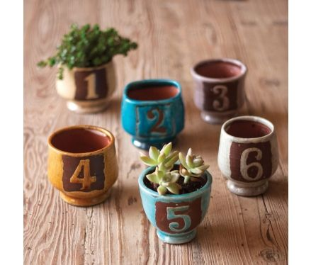 """Numbered Ceramic Pots, Set of 6  I like the idea of personalizing items, great idea for """"holiday shoppers"""""""