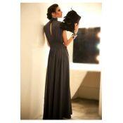 $14.99 Elegant Vintage Turtleneck Cap Sleeve Short Sleeves Grey  Cotton Straight Floor length Dress. from LovelyWholeSale.com