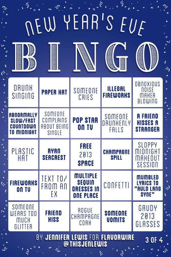 New Year's Eve Bingo Game Cards New years eve day, New