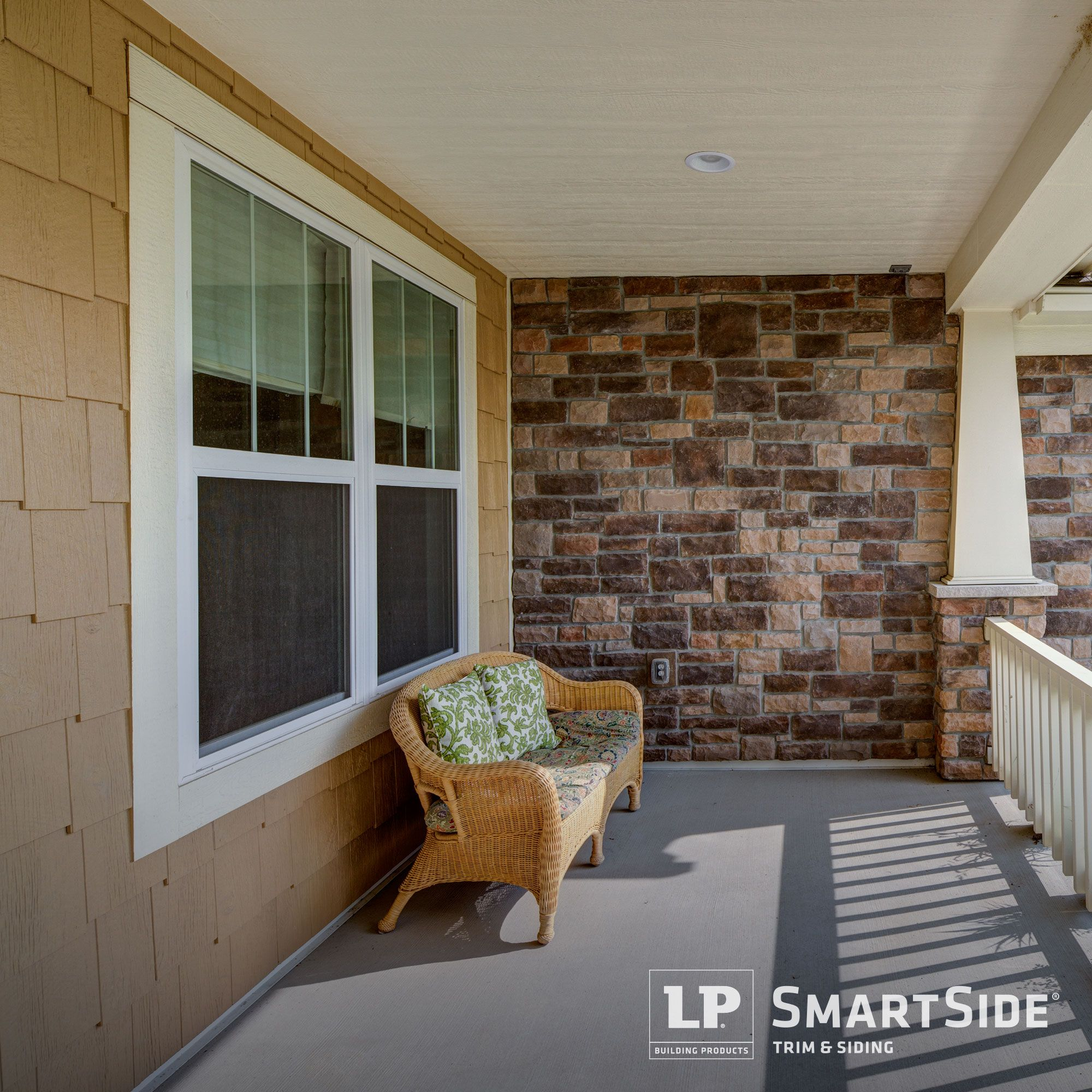Neutral Colors Of Lp Smartside Cedar Shakes And Trim Complement The Stone Masonry Details On This Home S Op Engineered Wood Siding Siding Trim Wood Siding Trim