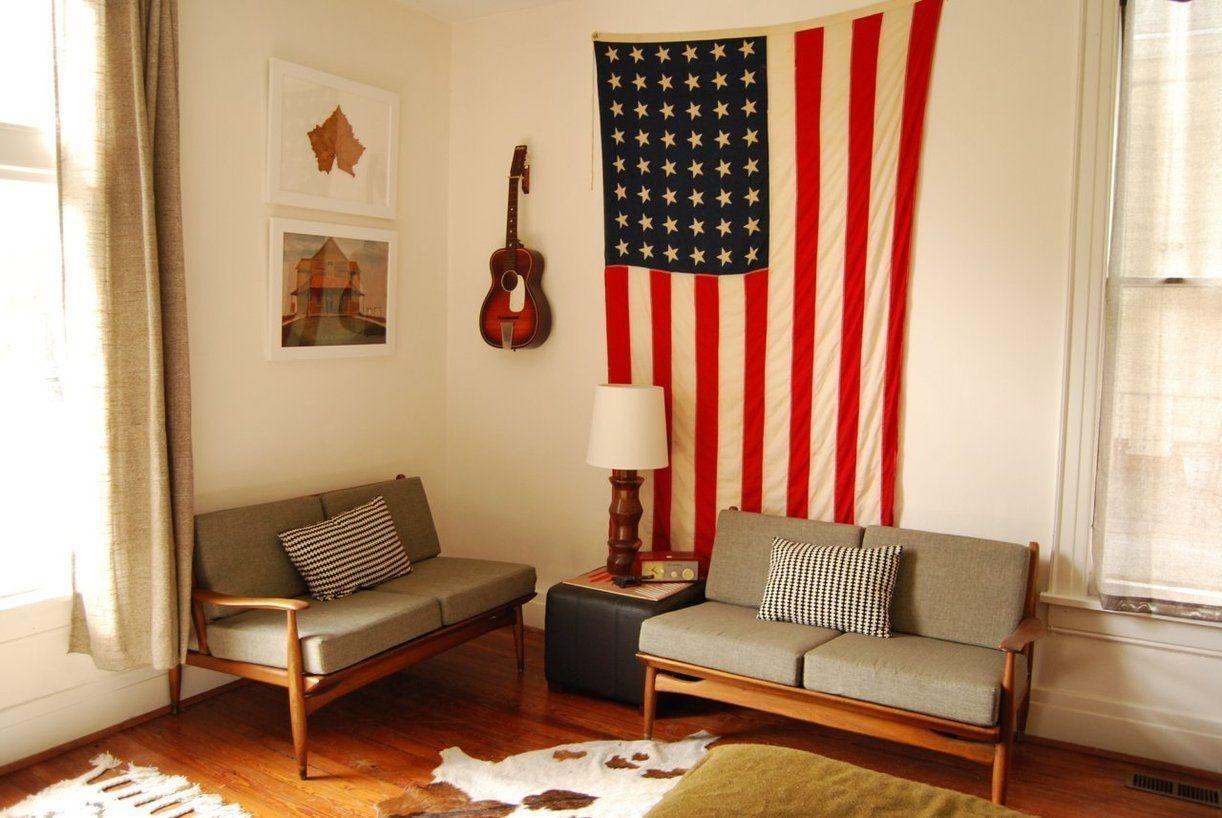 living room // Kb & Bru's Playful Creative Space in Nashville - minimalist patriotism