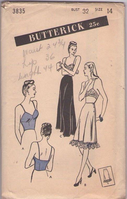 Butterick 3835 Vintage 40's Sewing Pattern UNIQUE Rare Swing Era Long Ling Camisole Bra Brassiere, Side Buttoned Ruffle Petticoat, Long Evening Slip #MOMSPatterns