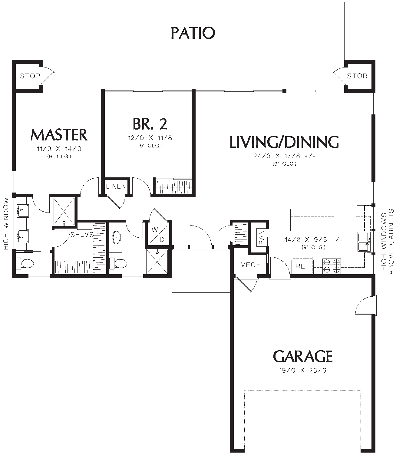Small modern L-shaped 2-bedroom ranch house plan | Two ...