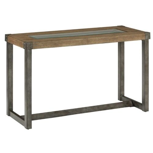 Jofran Freemont Glass Top Console Table in Smoky Wood, Grey