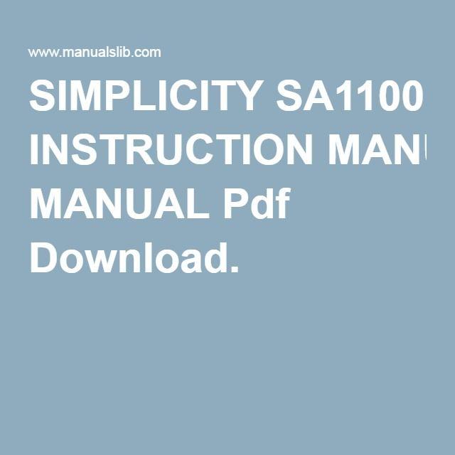 Simplicity Sa Instruction Manual Pdf Download  Sewing