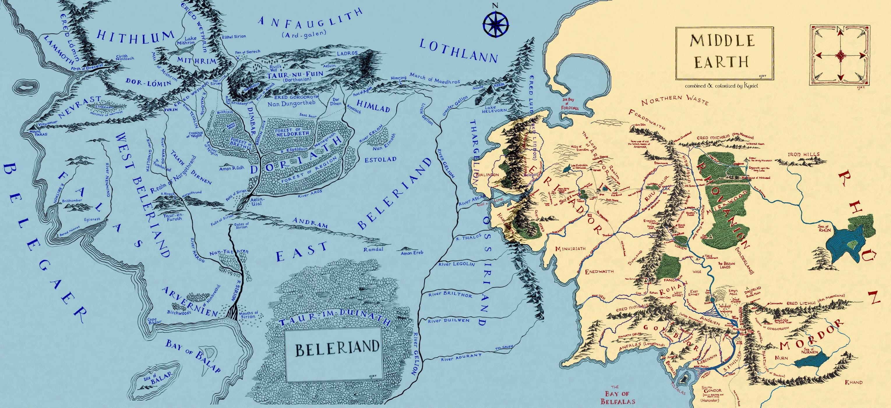 Mapa Tierra Media Hd.Middle Earth And Beleriand Hobbit Lotr Middleearth Map