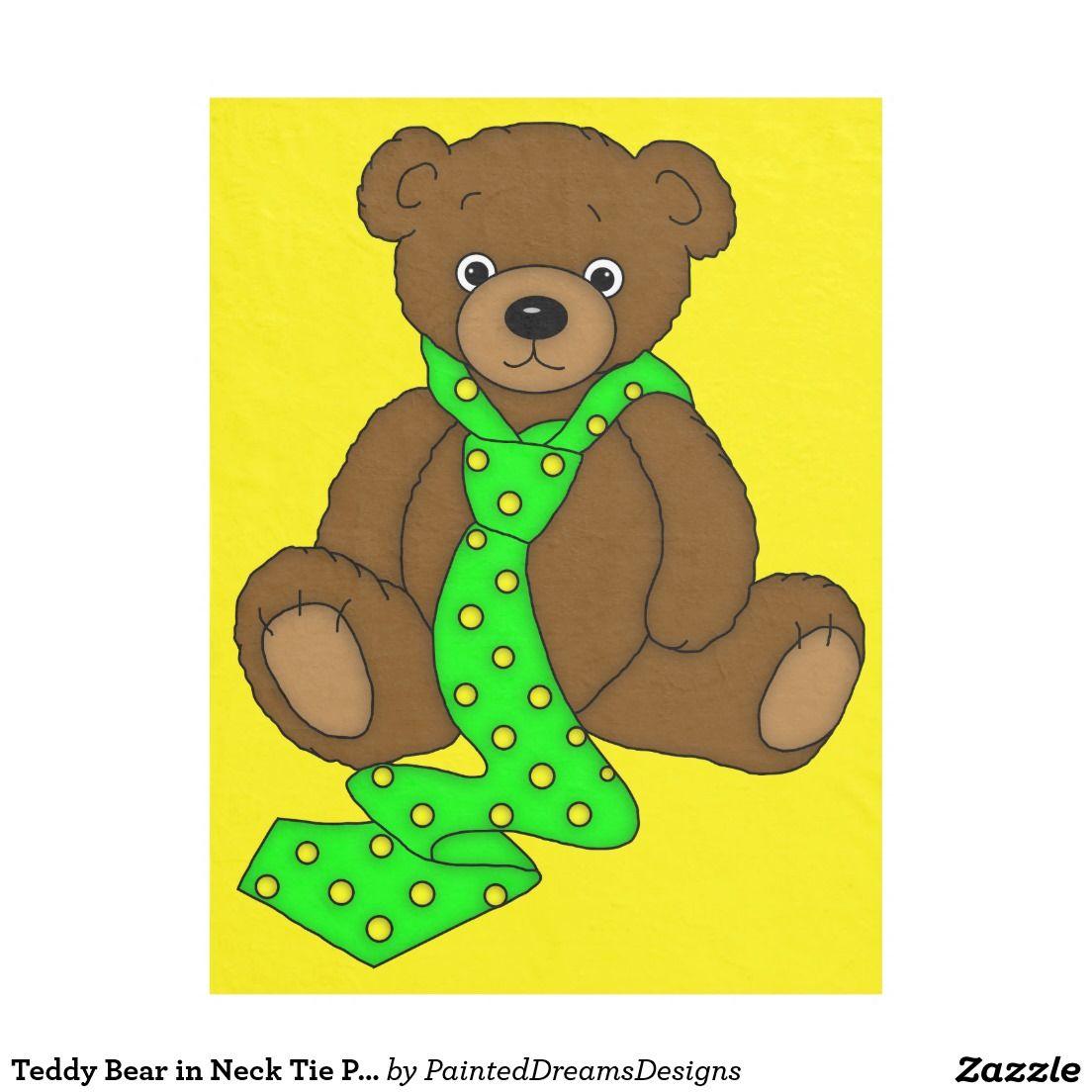 Teddy bear in neck tie print fleece blanket blanket