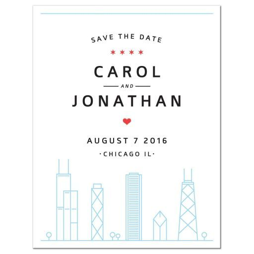 chicago skyline destination wedding save the date announcement with