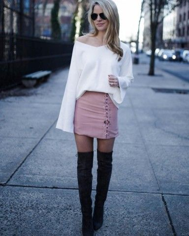 White bell-sleeve top with lace up skirteeve Pieces