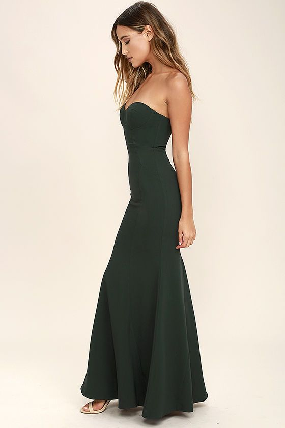For Infinity Forest Green Strapless Maxi Dress | Strapless maxi ...
