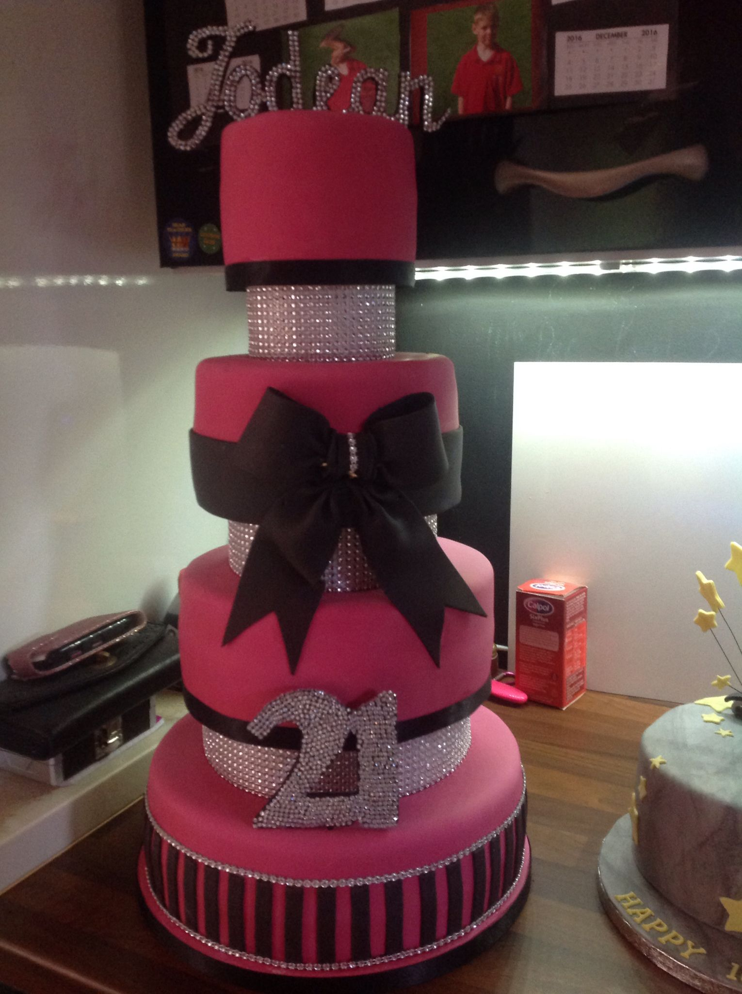 Hot Pink Black And Bling Diamante 4 Tier Plus Spacers 21st Birthday Cake Made By Sheryl Anslow