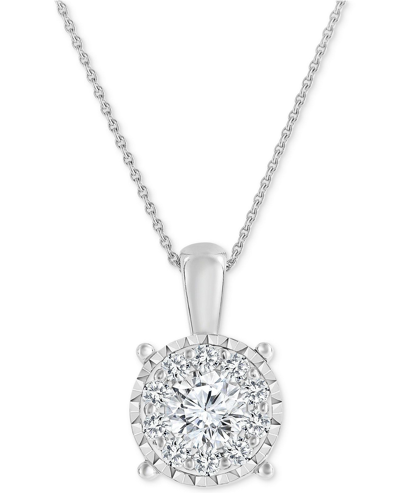 Fine Jewelry 3/4 CT. T.W. Diamond 14K Yellow Gold Over Silver Necklace Pfoh5