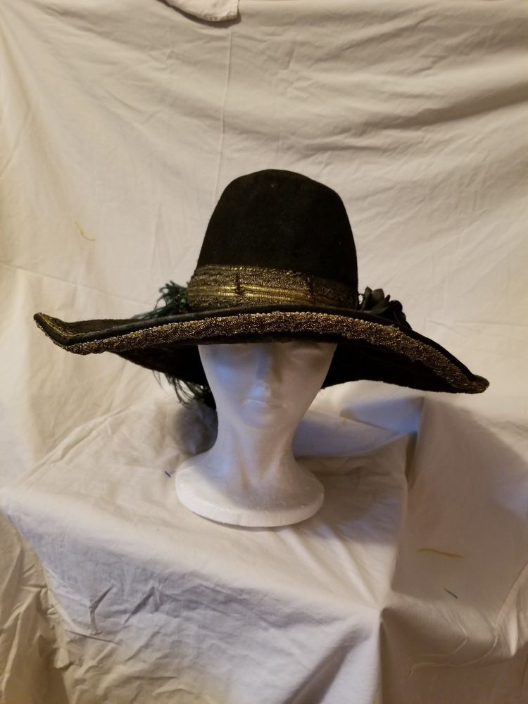 Pirate Hat Black with gold Trim