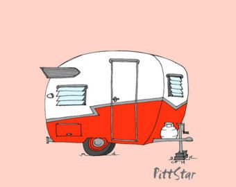 Instant Download Wall Art Red Trotwood Travel Trailer
