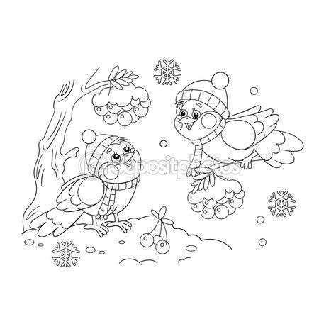 colorir página contorno de engraçado pássaros no inverno