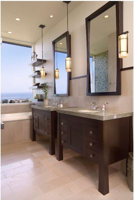 Double Vanity And Pendant Lights In Bath Contemporary Bathroom Designs Bathroom Decor Contemporary Bathroom