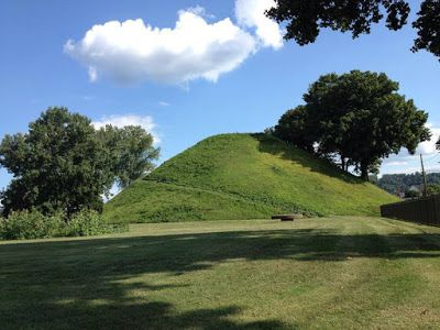 Grave Creek Mound in Moundsville, WV. Photo by Barb at Country Lane Crafts & Antiques.