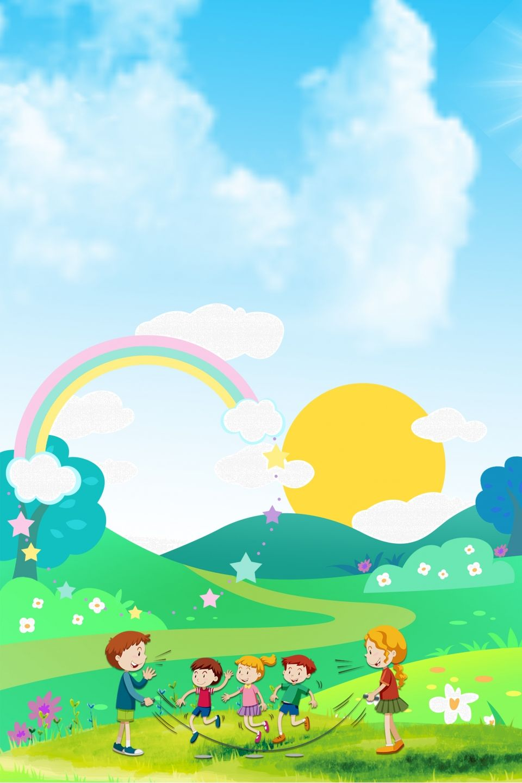 Cartoon Kid Rainbow Light Green Background Material In 2020 Green Backgrounds Rainbow Kids Rainbow Light