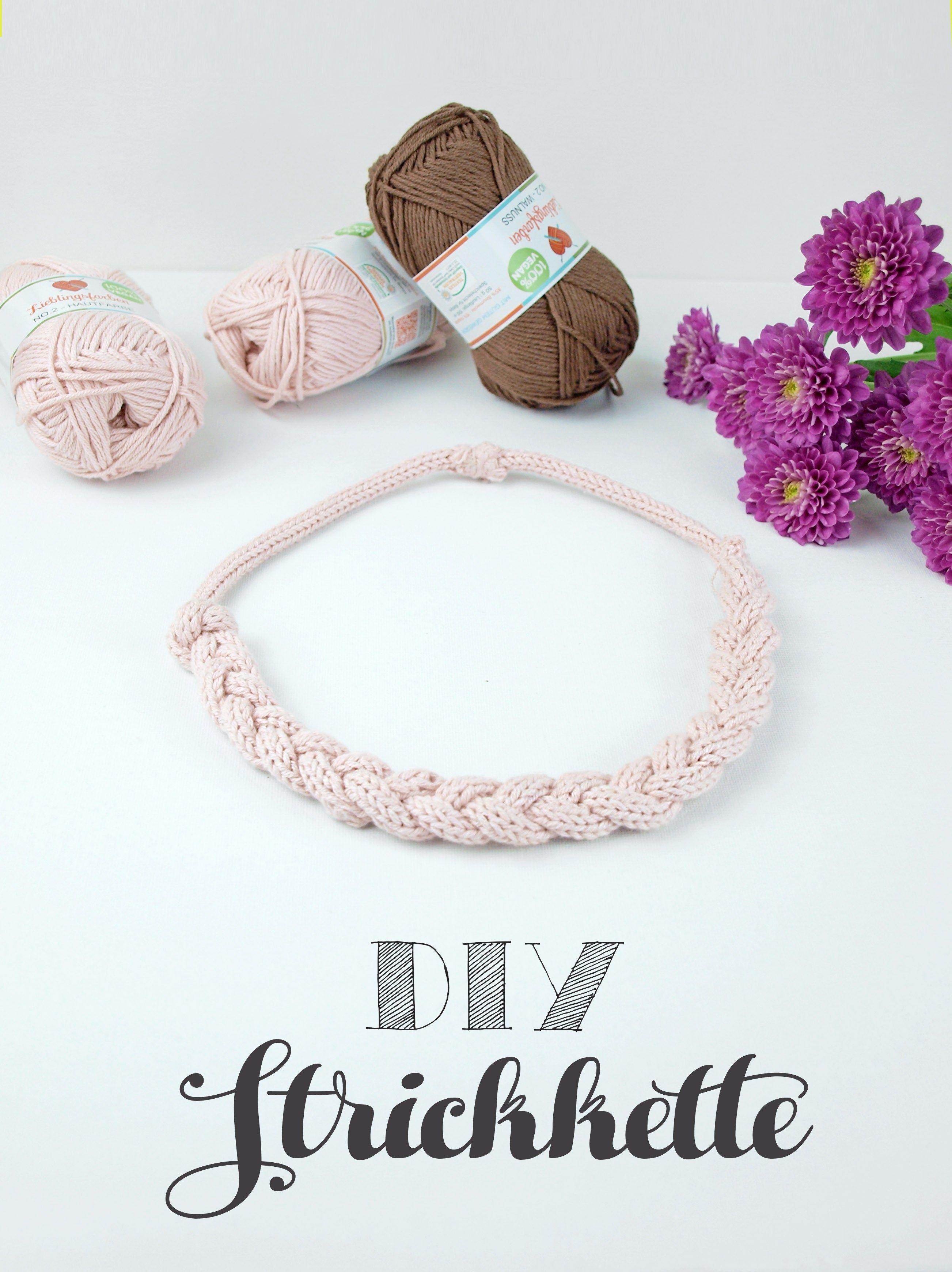 Gestrickter Schmuck: DIY Strickkette aus veganer Wolle | Wolle ...