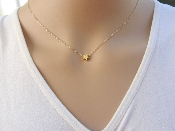 84325ef8999dfb Tiny star necklace, Gold star necklace, delicate gold filled chain with gold  plated charm, modern minimalist jewelry for everyday