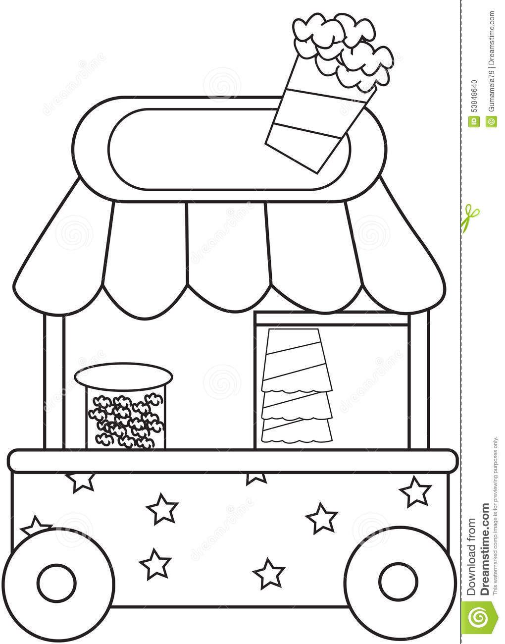 Stock Photo Popcorn Stand Coloring Page Image 53848640