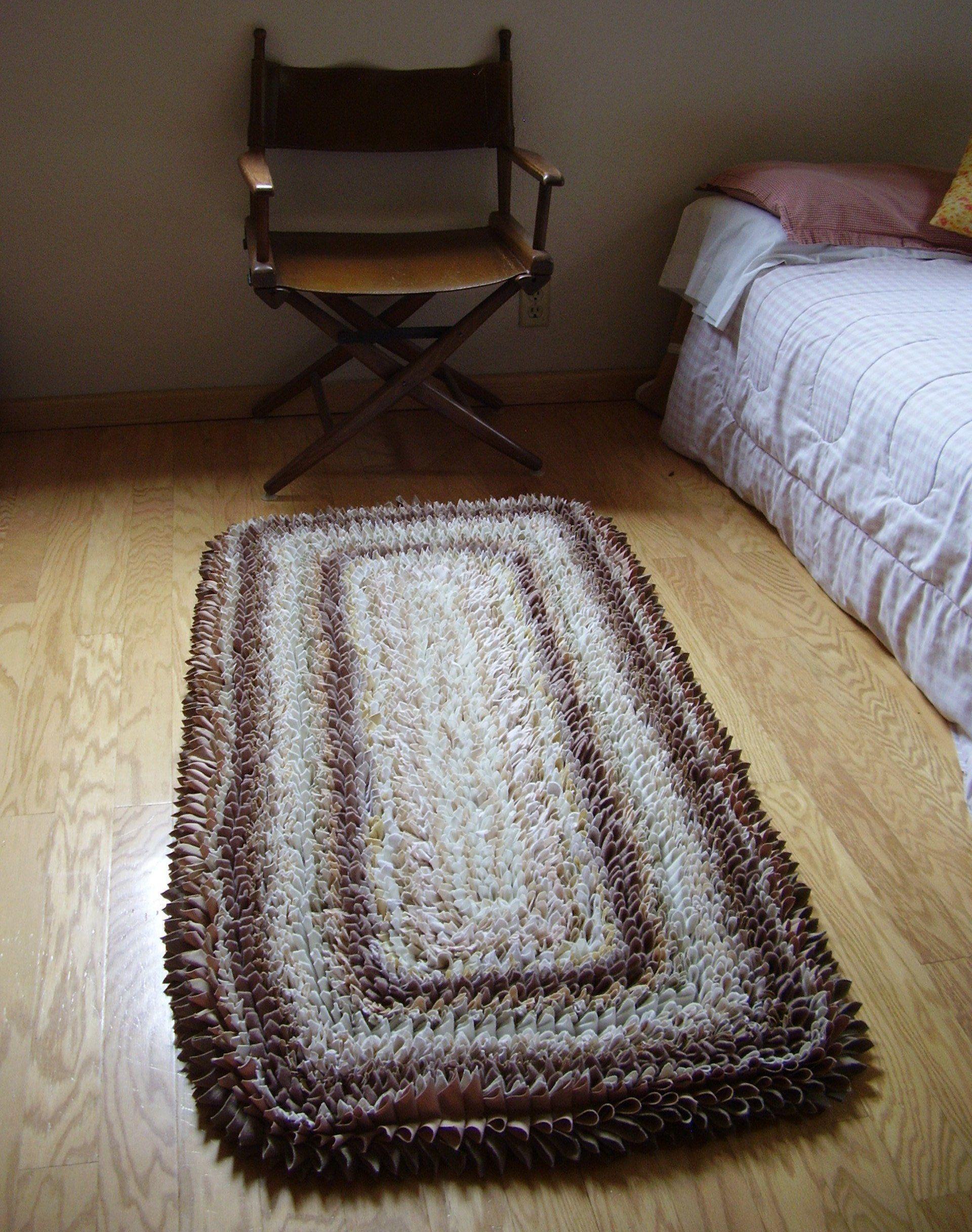 Beige runner rug rag rug large neutral rug cottage