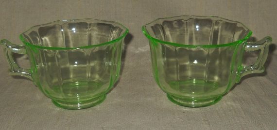 Set of 2 Cambridge Uranium Depression Glass Decagon Green Footed Cup by LovesVintageFinds, $12.00
