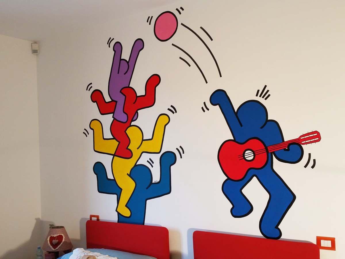 Adesivi Murali Keith Haring.Omaggio A Keith Haring Colori Acrilici Disegno A Parete By Annalisa Tombesi Decorazioni Disegni Parete