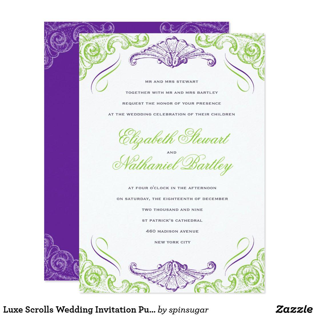Luxe Scrolls Wedding Invitation Purple Green   Wedding Ideas, Favors ...