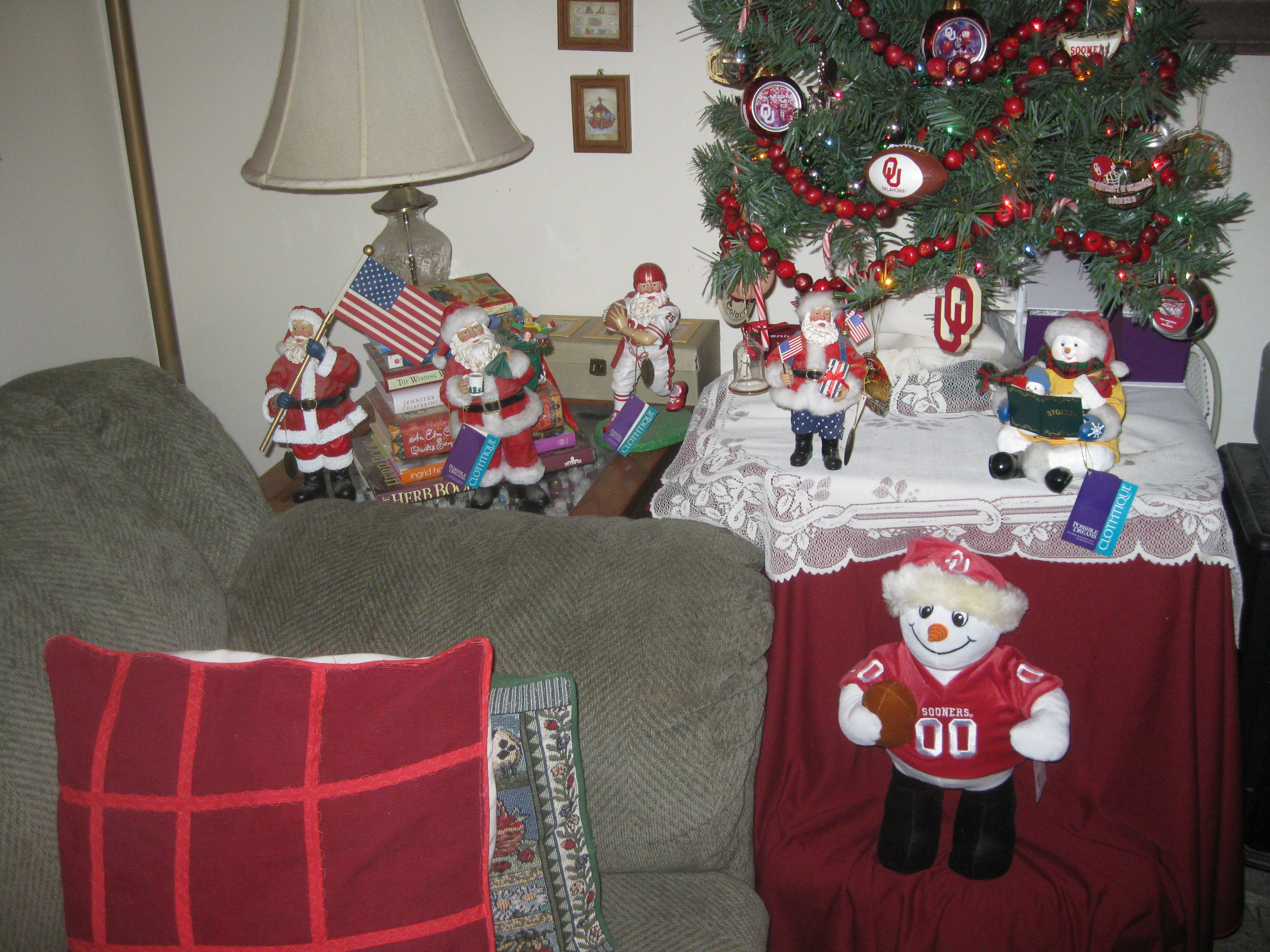 Our Christmas tree and Santas and snowmen, 12-10-11