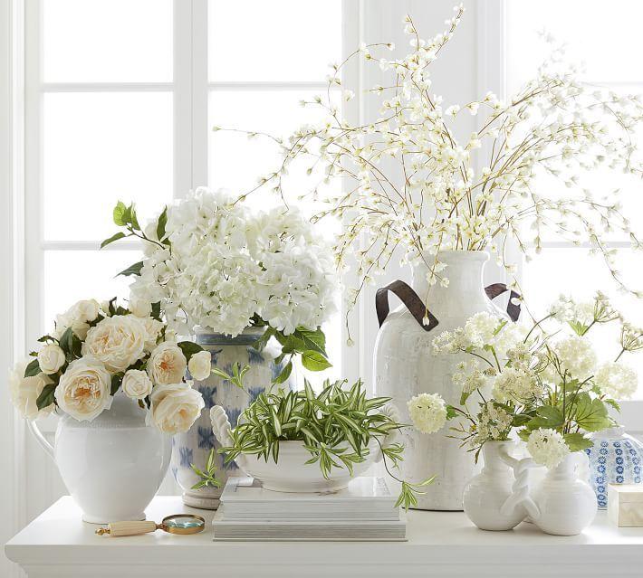 Faux Rose Bundle - White