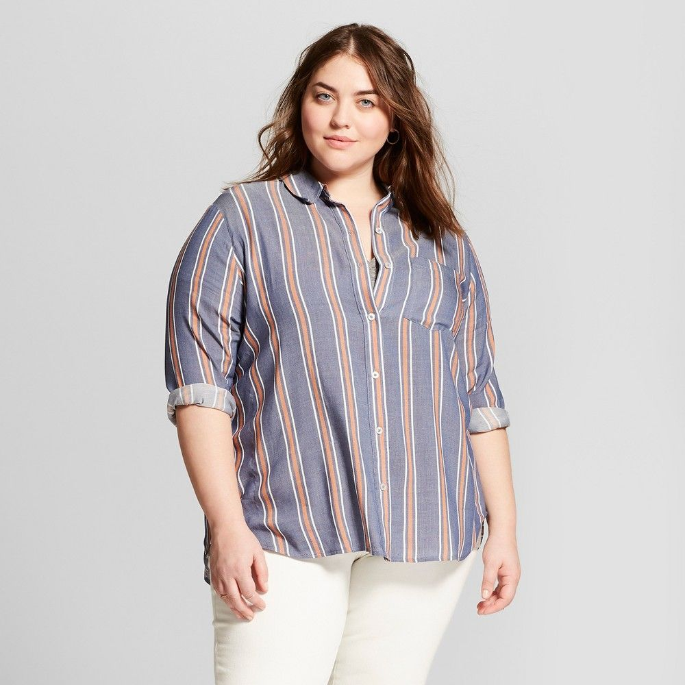 831e04f4c Women's Plus Size Long Sleeve Striped Button Down Shirt - Universal Thread  Blue 4X