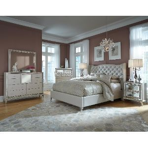 Hollywood Pearl White 4 Piece Queen Bedroom Set Bedroom Collections Furniture King Bedroom Sets Luxurious Bedrooms