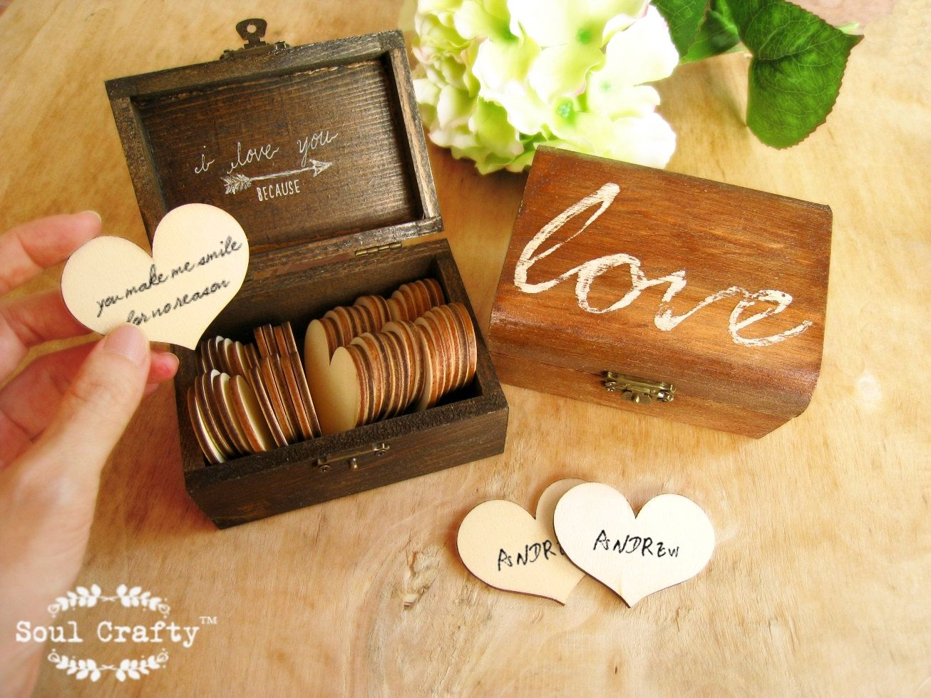 52 Reasons I Love You Because Wooden Heart Message