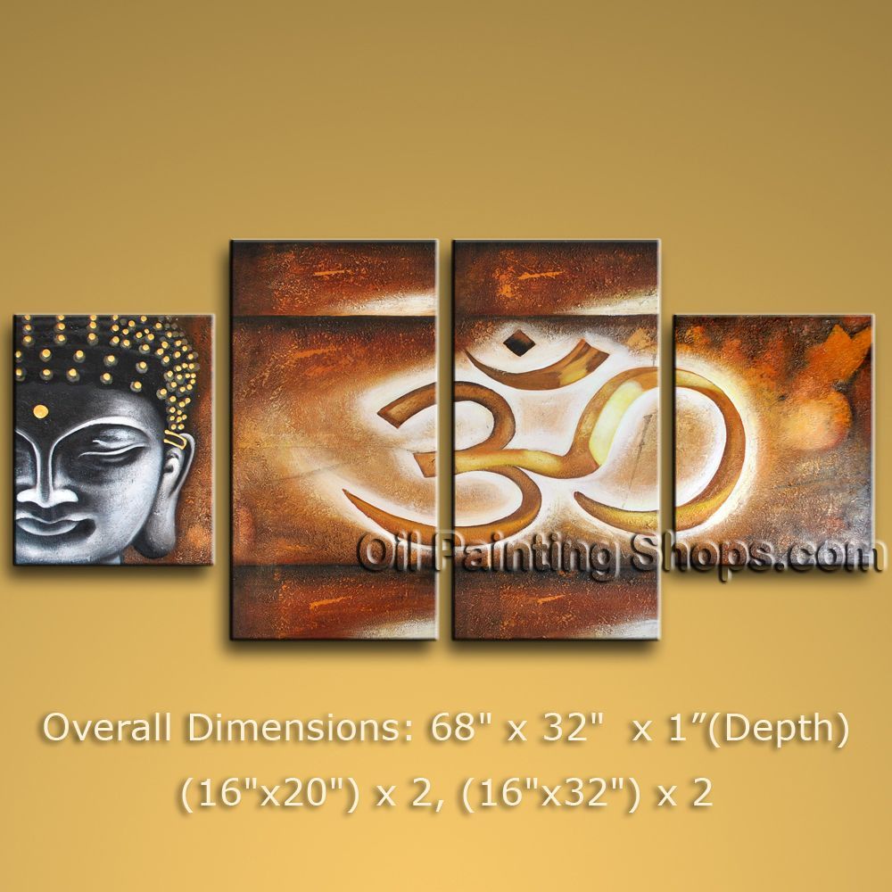 4 Pieces Feng Shui Zen Art Contemporary Painting Buddha Oil On ...