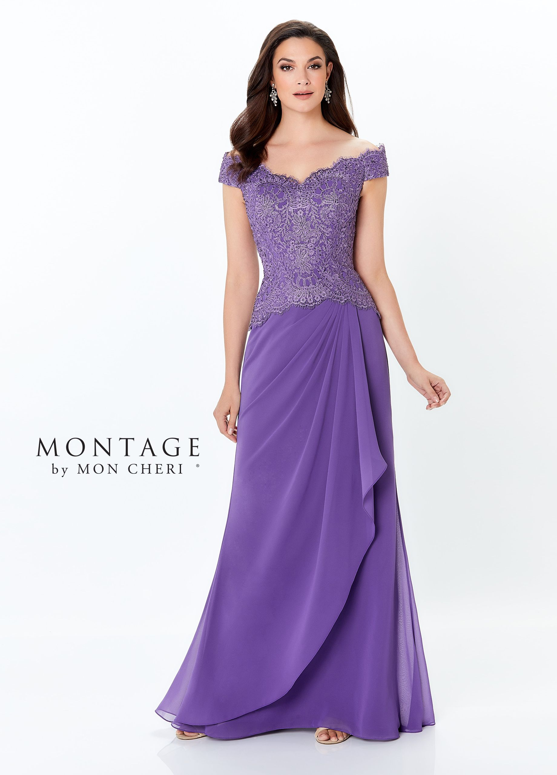 bc8dbf8019 Montage By Mon Cheri 116937 - Off-the-shoulder chiffon and lace fit and flare  gown