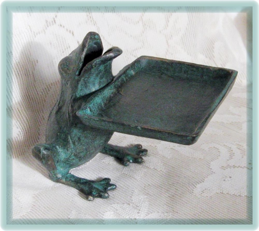 Cast Iron FROG Business Card Holder Desk Store Counter Verdigris ...
