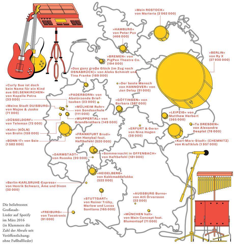 Deutschlandkarte Lieder Uber Grossstadte Zeitmagazin Learn