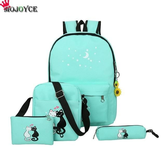 0f117ace15f8 Women Backpack Cat Printing Canvas School Bags For Teenager Girls Preppy Style  4 PCS SET Rucksack Cute Book Bag Mochila Feminina
