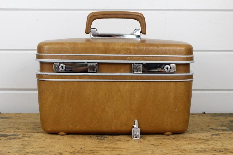 0f0e4c7f4 Vintage Brown Samsonite Train Case Luggage Suitcase Locking with 1 Key  Locks Mirror Make Up Purse