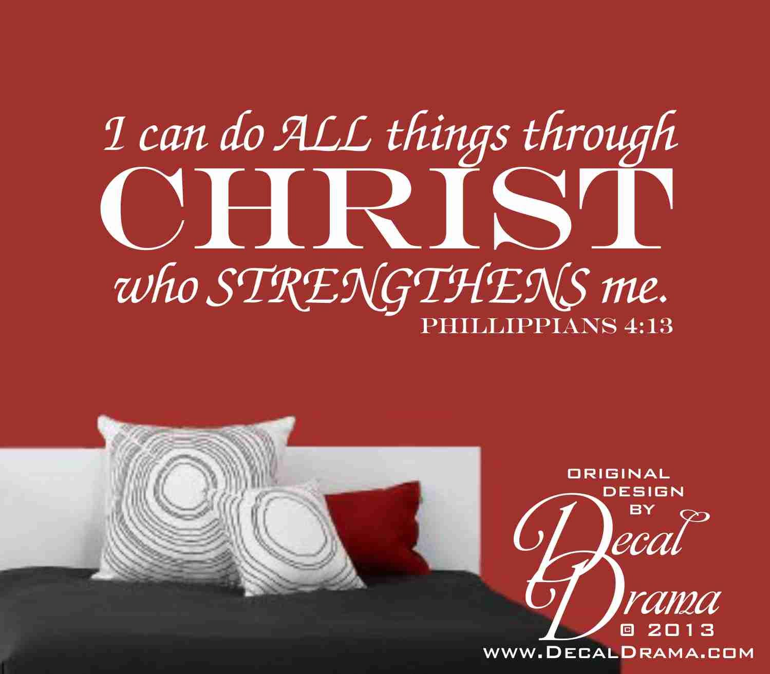 I can do all things through christ who strengthens me scripture i can do all things through christ who strengthens me phillippians bible scripture quote vinyl wall decal sold by decal drama amipublicfo Images