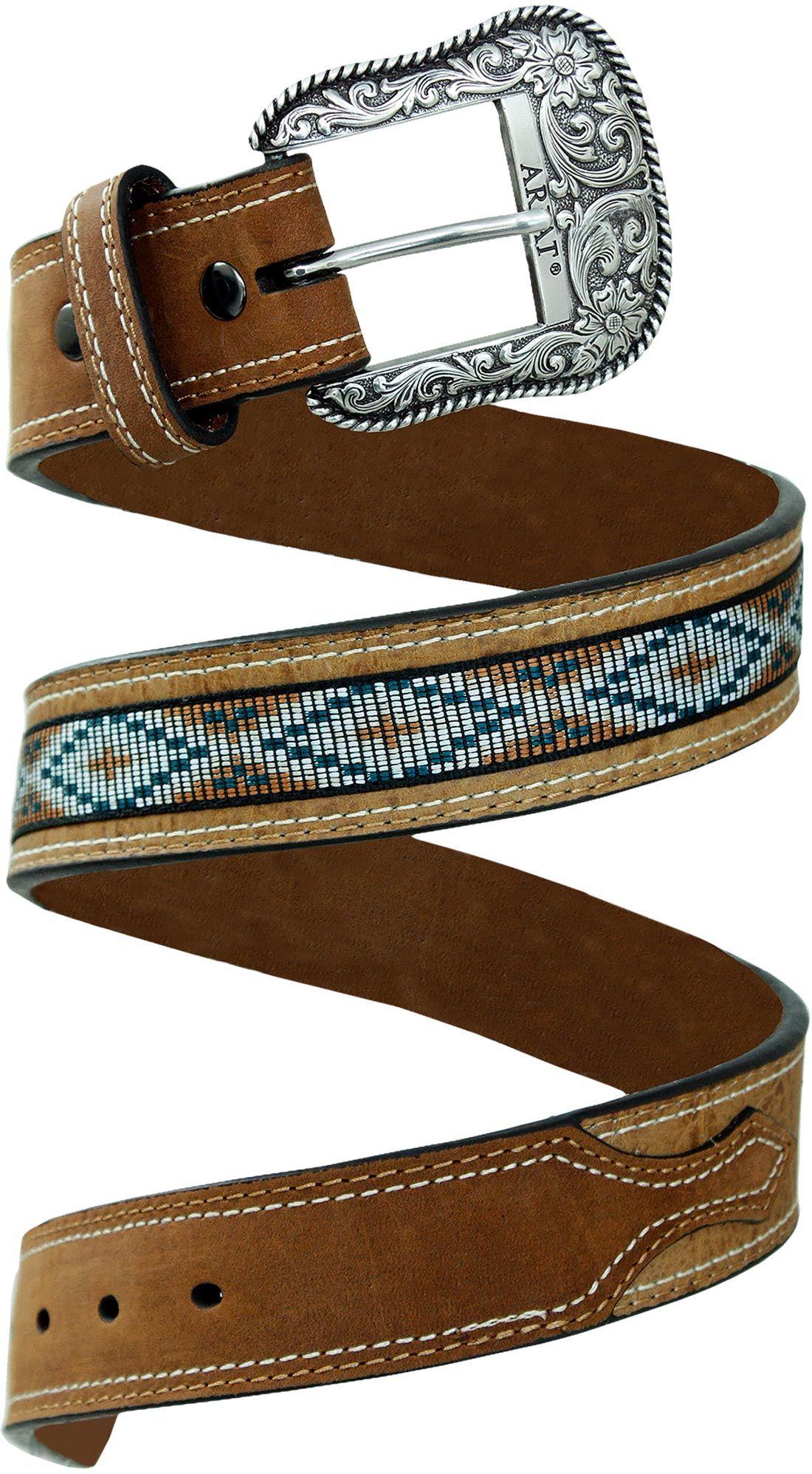 b3c129cb4 Cinto Ariat Indígena Masculino com Rebites cinto masculino Ariat em couro  com desenho estilo indígena e