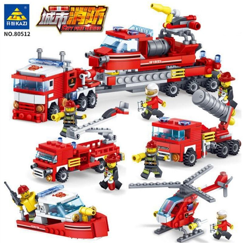 Toys & Hobbies Model Building Firefighting Series Mini Fire Trucks Cars Fireman Figures Building Blocks Compatible Legoingly City Diy Assemble Toys For Kids