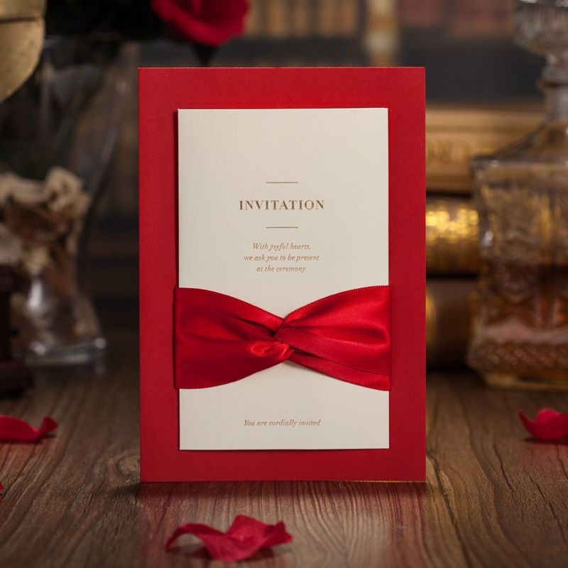 100 x Red Ribbon Wedding Formal Invitation with printed Insert, Envelope & Seal
