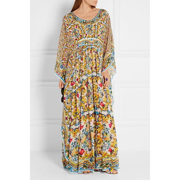 Dolce & Gabbana Printed silk-georgette kaftan ($1,525) ❤ liked on Polyvore featuring tops, tunics, loose fitting tops, side slit tunic, colorful tunics, print tunic and caftan top