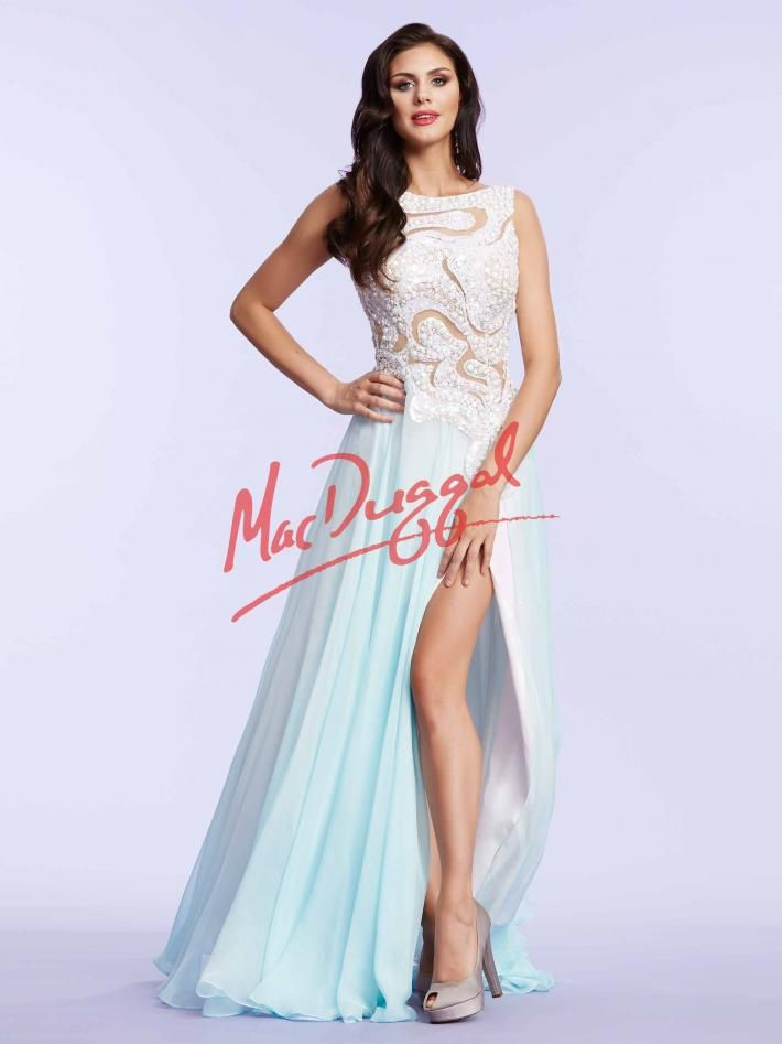 Pastel Blue Prom Dress With White Stones Mac Duggal 85404m Mac